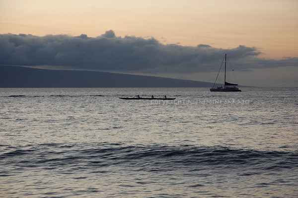 Outrigger across Lanai at Sunset II, Maui